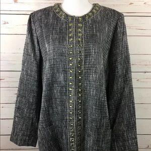 Chico's BeJeweled Constantean Tweed Jacket